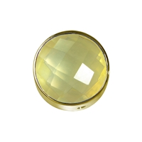 Lemon Quartz (heated) facetted framed, Silver gold plated, 12mm