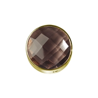 Smoky Quartz facetted framed, Silver gold plated, 12mm