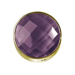 Amethyst facetted framed, Silver gold plated, 15mm