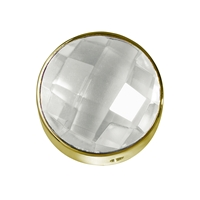 Rock Crystal facetted framed, Silver gold plated, 15mm