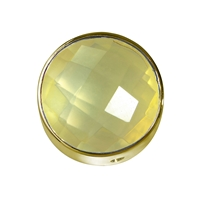 Lemon Quartz (heated) facetted framed, Silver gold plated, 15mm