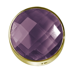 Amethyst facetted framed, Silver gold plated, 20mm