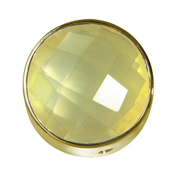 Lemon Quartz (heated) facetted framed, Silver gold plated, 20mm