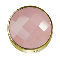 Rose Quartz facetted framed, Silver gold plated, 20mm