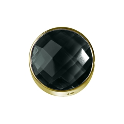 Onyx (dyed) facetted framed, Silver gold plated, 12mm