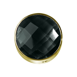 Onyx (dyed) facetted framed, Silver gold plated, 15mm