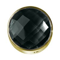 Onyx (dyed) facetted framed, Silver gold plated, 20mm