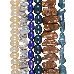 Coloured and dyed stringed Pearl Beads